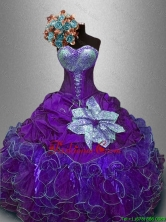 New Arrivals Sequined Purple Sweet 16 Gowns with Ruffles SWQD031-2FOR