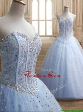 New Style Beaded Bodice Tulle Quinceanera Dress in Light Blue SWQD146FOR