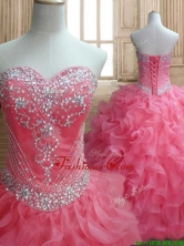 New Style Beaded and Ruffled Quinceanera Dress in Watermelon SWQD155FOR