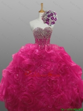 New Style Beading and Rolling Flowers Sweetheart Quinceanera Dresses for 2015 Winter SWQD008FOR