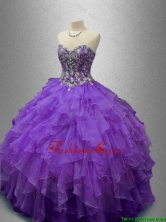 New Style Purple Sweet 16 Gowns with Beading and RufflesSWQD029-6FOR