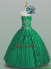Perfect 2015 Fall Ball Gown Beaded Green Sweet 16 Dresses with Appliques SWQD005FOR