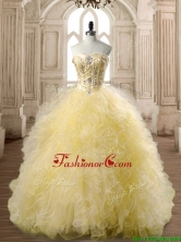 Perfect Beaded and Ruffled Tulle Quinceanera Dress in Yellow SWQD168-1FOR