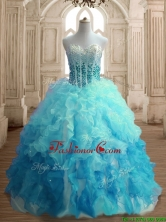 Popular Beaded Bodice and Ruffled Quinceanera Dress in Gradient Color SWQD150-5FOR