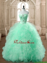 Popular Big Puffy Apple Green Quinceanera Dress with Beading and Ruffles SWQD168-5FOR