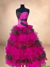 Popular Multi Color Sweet 16 Gowns with Ruffled Layers SWQD054-3FOR