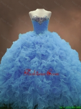 Popular Sweetheart Ruffles and Beaded Quinceanera Gowns in BlueSWQD053-3FOR
