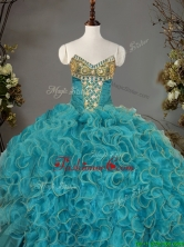 Romantic V Neck Quinceanera Dress with Beading and Ruffles for Winter SWQD093FOR