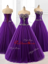 2016 Pretty Beading A Line Sweet 16 Dresses in PurpleSWQD060-2FOR