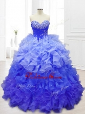 New Sweetheart Blue Quinceanera Gowns with Beading and RufflesSWQD062-3FOR