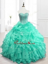Best Selling Beading and Ruffles Sweet 16 Dresses in Apple GreenSWQD063-1FOR