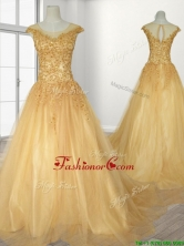 See Through Scoop A Line Beading Quinceanera Gown with Brush Train SWQD108FOR