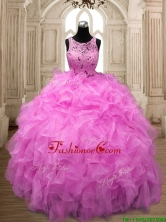 See Through Scoop Hot Pink Sweet 16 Dress with Beading and Ruffles SWQD138-4FOR