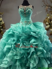 See Through Scoop Turquoise Sweet 16 Dress with Beading and Ruffles SWQD089FOR