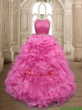 Two Piece Scoop Beaded and Ruffles Quinceanera Dress in Organza SWQD160-2FOR