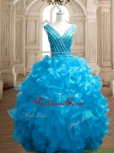 Wonderful Deep V Neckline Beading and Ruffles Sweet 16 Dress in Organza SWQD151-3FOR