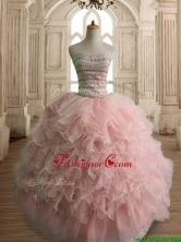 Wonderful Peach Organza Quinceanera Dress with Beading and Ruffles SWQD144-1FOR