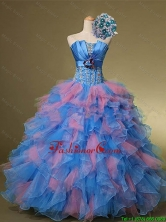 2015 Fall Beautiful Strapless Quinceanera Dresses with Hand Made Flowers and Beading SWQD001-2FOR