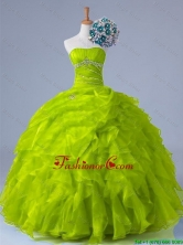 2015 Fall Perfect Strapless Quinceanera Dresses with Beading and Ruffles SWQD011-9FOR
