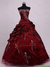 2016 Elegant Strapless Ball Gown Wine Red Sweet 16 Dresses with Appliques