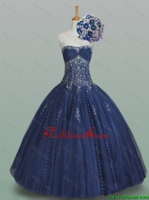 2016 Fall Elegant Ball Gown Strapless Beaded Quinceanera Dresses in Navy Blue SWQD005-1FOR