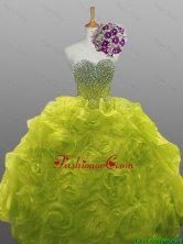 2016 Fall Elegant Beaded Quinceanera Dresses with Rolling Flowers SWQD008-11FOR