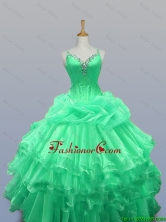 2016 Fall Elegant Straps Quinceanera Dresses with Beading and Ruffled Layers SWQD003-7FOR