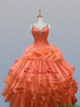 2016 Summer Perfect Straps Quinceanera Dresses with Beading and Ruffled Layers SWQD003-2FOR