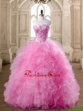 Affordable Rose Pink Quinceanera Dress with Beading and Ruffles for Spring SWQD168-4FOR