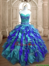 Affordable Teal and Blue Sweet 16 Dress with Appliques and Ruffles SWQD136-3FOR