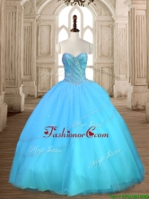 Beautiful Baby Blue Sweet 16 Dress with Beading for Spring SWQD167-1FOR