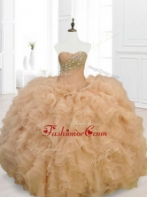 Beautiful Champagne Quinceanera Gowns with Beading and RufflesSWQD068-4FOR