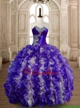 Beautiful Puffy Skirt Beaded and Ruffled Quinceanera Gown in Organza SWQD173-5FOR