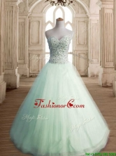 Classical Beaded Bodice Tulle Quinceanera Dress in Apple Green SWQD140-3FOR