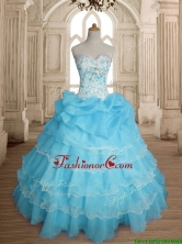 Classical Really Puffy Baby Blue Quinceanera Dress with Ruffled Layers and Beading SWQD147-3FOR