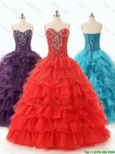 Custom Made 2016 Ball Gown Sweet 16 Dresses with Ruffled Layers SWQD049-2FOR