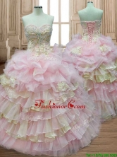 Discount Applique and Ruffled Layers Quinceanera Dress in Baby Pink and Yellow SWQD163FOR