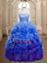 Discount Beaded and Ruffled Organza Sweet 16 Dress in Rainbow SWQD162-1FOR