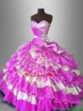 Discount Beaded and Ruffles Sweet 16 Gowns in Multi Color SWQD028-1FOR