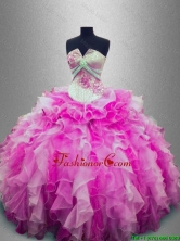 Discount Strapless Beaded Multi Color Sweet 16 Gowns with Ruffles SWQD025-2FOR
