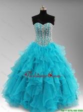 Elegant Beaded and Ruffles Quinceanera Dresses in Aqua Blue SWQD046FOR