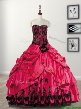 Elegant Hand Made Flowers and Pick Ups Taffeta Sweet 16 Dress in Coral Red SWQD096FOR