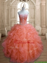 Elegant Orange Red Sweet 16 Dress with Beading and Ruffles SWQD155-1FOR