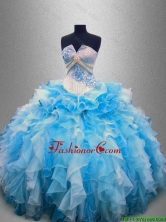 Elegant Strapless Beaded and Ruffles Quinceanera Gowns in Multi Color SWQD025-1FOR
