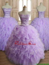 Exclusive Beaded and Ruffled Big Puffy Quinceanera Dress in Lavender SWQD144FOR
