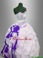 Fashionable Beaded and Pick Ups Quinceanera Gowns in Multi Color SWQD042-4FOR