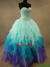 Fashionable Beaded and Ruffles Sweet 16 Dresses in Multi Color SWQD052FOR