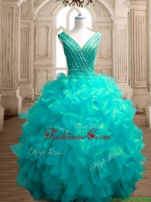 Fashionable Deep V Neckline Sweet 16 Dress with Beading and Ruffles SWQD151-2FOR
