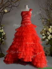 Fashionable One Shoulder A Line Red Quinceanera Dress with Beading and Ruffled Layers SWQD104FOR
