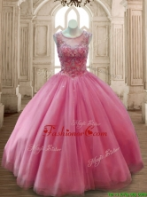 Fashionable Scoop Rose Pink Tulle Quinceanera Dress with Beading SWQD169-4FOR